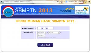 Halaman resmi pengumuman SBMPTN 2013